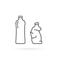 whole and crumpled thin line bottle vector image
