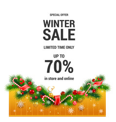 winter christmas sale template vector image