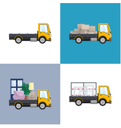 Yellow small trucks with different loads vector