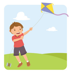 young boy with red shirt flying a kite in the vector image