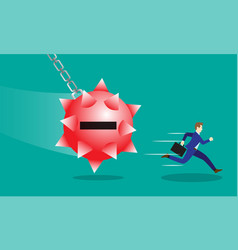 businessman running from negativity wecking balls vector image