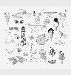 collection of summer cartoon doodles vector image