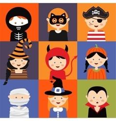 Happy Halloween Set of cute cartoon children in vector image