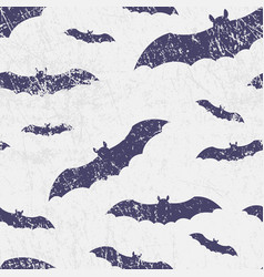 seamless halloween pattern with bats grunge vector image vector image