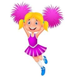 Cheerleader cartoon with Pom Poms vector image vector image