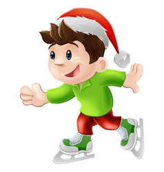 christmas ice skater vector image