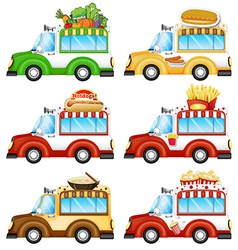 Different food vans vector image vector image
