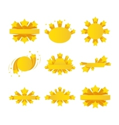 Labels with star burst ribbons stars around vector image vector image