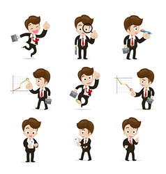 Set of 9 businessman in difference action eps10 vector image vector image