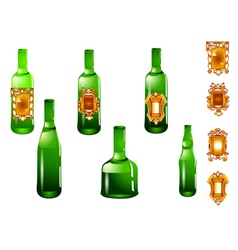 set of bottle and label vector image