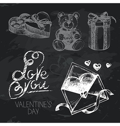 Valentines Day hand drawn chalkboard design set vector image