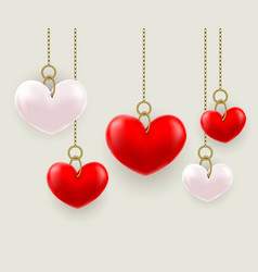 volumetric hearts hung on a chain vector image vector image