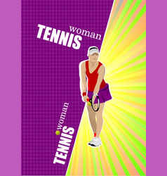 woman tennis poster colored for designers vector image