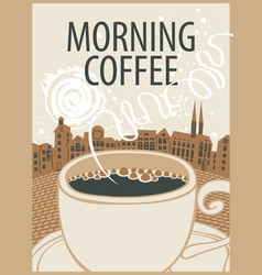 banner with cup of coffee on background of town vector image vector image
