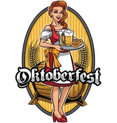 beautiful girl wearing drindl presenting the beers vector image vector image