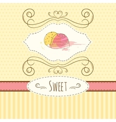 Candies hand drawn card with vector image vector image