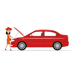 cartoon woman opened hood of the automobile vector image