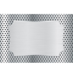Metal decorative plate on perforated background vector image vector image
