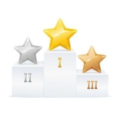 Pedestal Star Award Set vector image