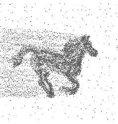 Running Horse Made Of Particles Dotted Background vector image