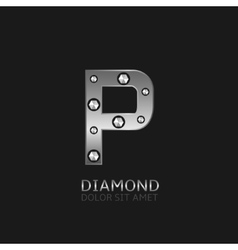 Silver P letter vector image vector image