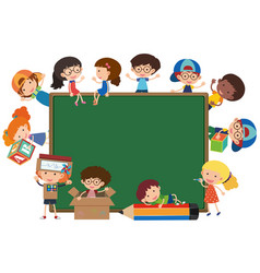 board with happy kids around it vector image vector image