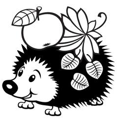 cartoon hedgehog black white vector image vector image