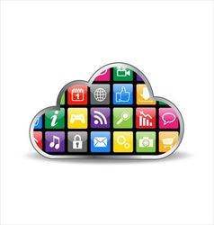 Cloud computing with apps vector image vector image
