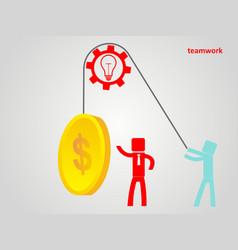 teamwork concept - an employee raises a coin on a vector image vector image