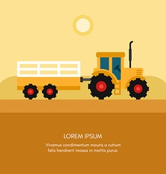 Tractor with Trailer Rural Farm Landscape Flat vector image