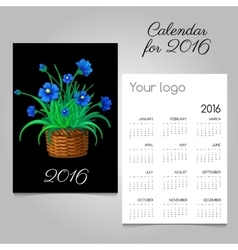 2016 Calendar with blue flowers in a wicker basket vector