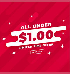 All under dollar one sale and deal template vector