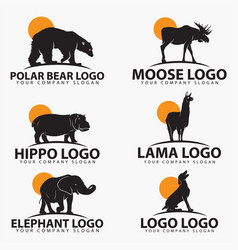animal silhouettes logo vector image