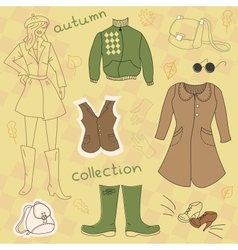 Autumn clothes set vector image