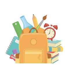 Bag and supplies school design vector