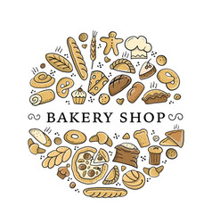 bakery shop background sketch for your design vector image