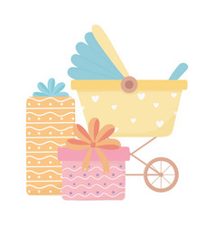 Bashower pram with gift boxes cartoon vector
