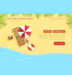 beach vacation landing page template summertime vector image