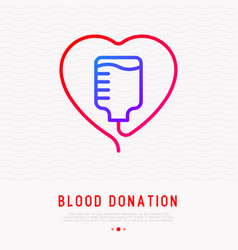 blood donation concept blood bag in heart shape vector image