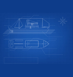blueprint cargo ship on blue background vector image