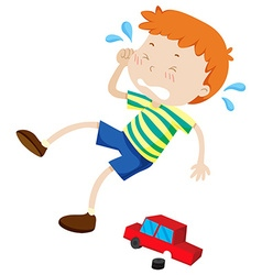Boy crying because of broken toy vector