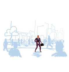 businessman walking at street out from crowd vector image