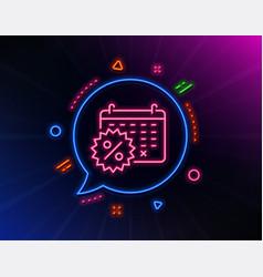 Calendar discounts line icon sale shopping sign vector