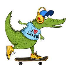 Cartoon image of amazing skateboarding alligator vector