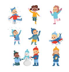 cheerful kids enjoying winter holidays building vector image