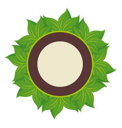 circular frame with leaves icon vector image