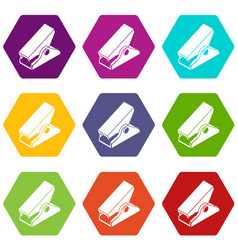 clothespin icons set 9 vector image
