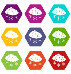 clouds and snow icon set color hexahedron vector image