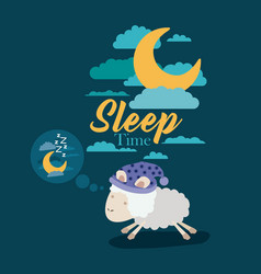 Color poster scene sky landscape of sleep time vector
