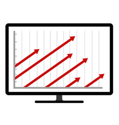 colored business graph on a computer screen vector image